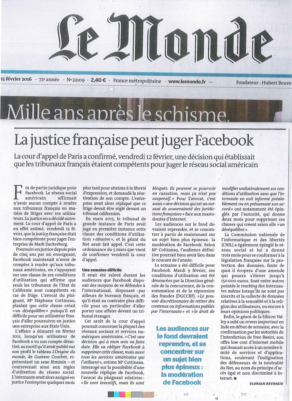 La Justice Française peut juger Facebook